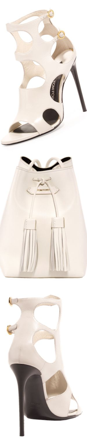 TOM FORD Cutout Leather 105mm Sandal, Chalkand Leather Small Tassel Bucket Bag, White/Black