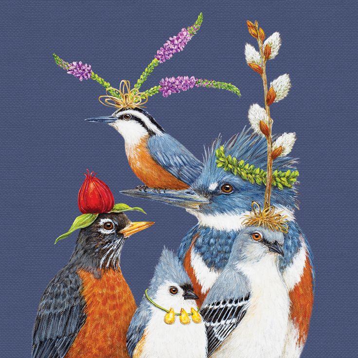 Party Friends Napkin 33x33 cm #ppd #paperproductsdesign #birds #vögel #party #animals #tiere #nature #natur #friends #freunde #blue #blau #art #kunst #künstlerin #design #designer #vickisawyer #napkin #serviette