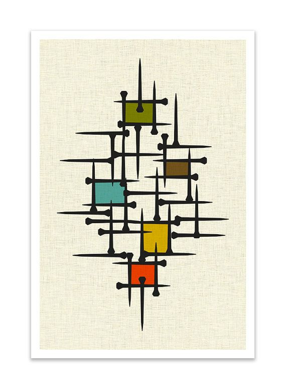 TACK - Giclee Print - Mid Century Modern Danish Modern Minimalist Nail Art  Modernist Abstract Eames