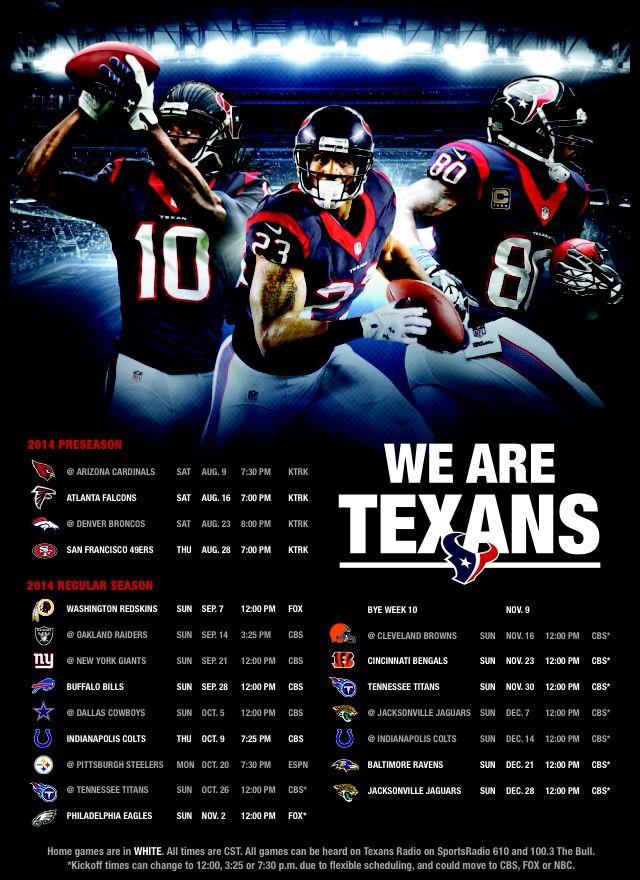 Texans schedule