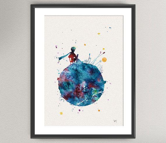 The LITTLE PRINCE Nº3 Watercolor Print Le Petit by oinkartprints