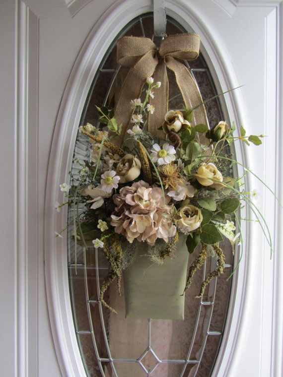 Front Door Wreath, Summer Wreath, Wall Pocket, Shabby Chic Wreath, Country Wreath