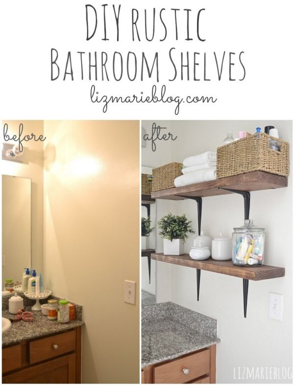 DIY rustic bathroom shelves... so easy!! It helps with organization & keeps the countertops clean.