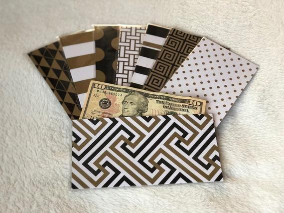 Laminated Cash Envelopes (Dave Ramsey) – Black, White, Brown