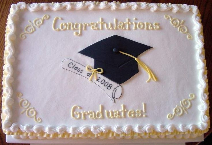 - A simple vanilla 12 x 18 sheet cake for my church's graduates. Hat and diploma are made from fondant, the rest is buttercream.