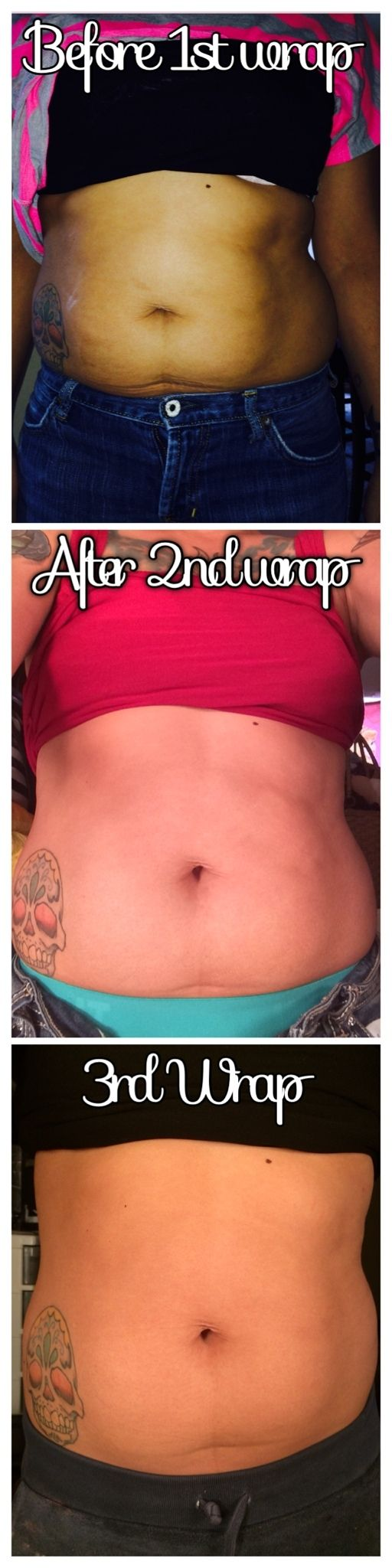 This is a mother of 4 babies. These are results of 3 WRAPS. She advised that she does fall a bit short on her water.  In between wraps she is utilizing our Defining gel daily as well as using our Fat Fighters as needed. What amazing results! Thanks for sharing your results with me this morning! Get with me to getcha some!!! REMEMBER 1 is a treat, 4 is a treatment. Dont hesitate to message me via Call/text: 214.998.8612 www.emaynesgibson.myitworks.com