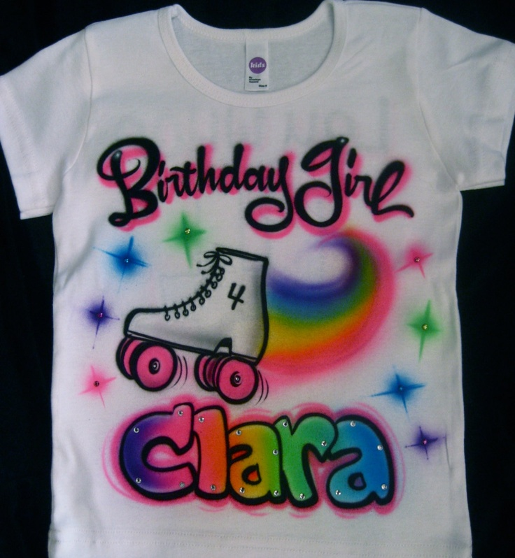 Airbrushed roller skate skating birthday girl personalized name Airbrush shirt toddler youth adult. $36.00, via Etsy.