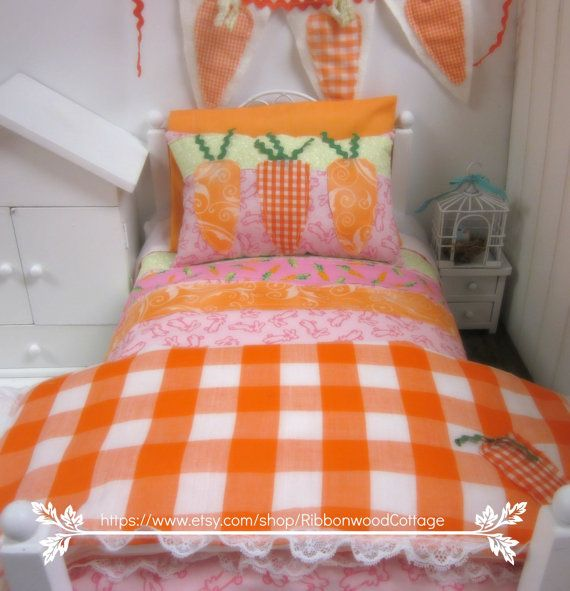 Spring Carrot Orange and White 18 inch Doll by RibbonwoodCottage