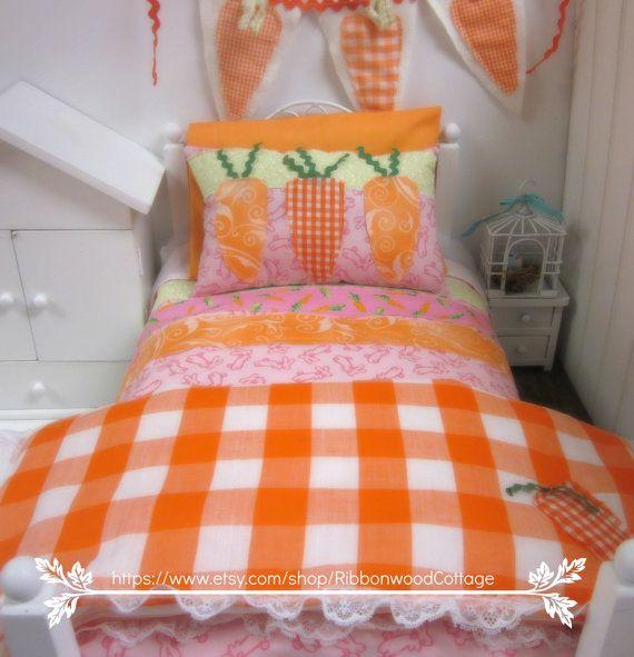 Primavera carota arancione e bianco 18 pollici bambola Bedding Set