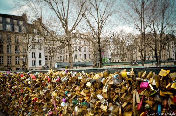 Paris Photography  love locks bridge river seine by LynnLangmade