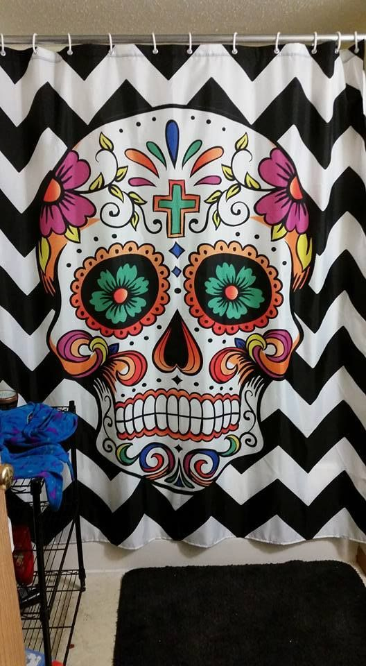 My Sugar Skulls Published by Allan Verburg Page Liked · March 28 · Edited ·    Thanks Kathleen Sturdevant for sharing her shower curtain.  Get here if you like it => http://amzn.to/1UVUQnl It's really beautiful.  --------------------------------- #sugarskull #sugarskulls #dayofthedead #calavera