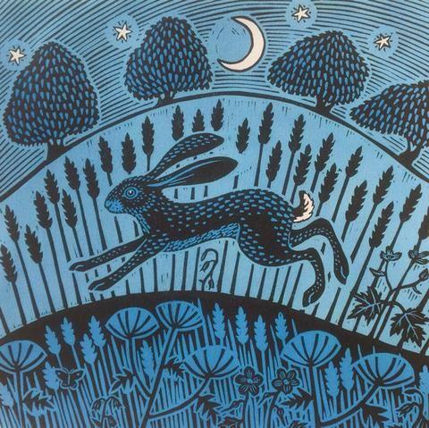 Gerard Hobson, Moonlight Hare - rabbit moon illustration
