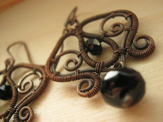 gothic earring victorian earring black earrings by HouseofAquila