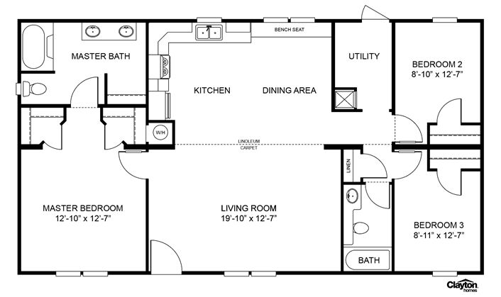 1000 ideas about clayton homes on pinterest mobile for Double wide floor plans with basement