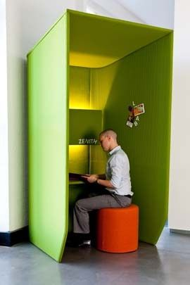 Colourful booth for when office workers need to do some focused work, away from the bustle of the open plan office. (By  BuzziBooth) #openplan #futureofwork