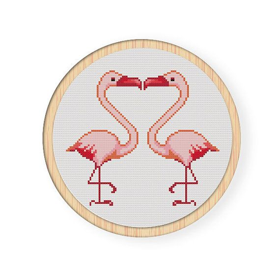 Instant Download,Free shipping,Cross stitch pattern, PDF,flamingo,love,ZXXC0099
