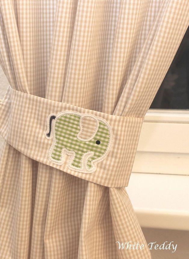 Gardinen & Vorhänge - Vorhang ♥ Elefant ♥ Vichy Karo beige 140 x 240 - ein Designerstück von WhiteTeddy bei DaWanda