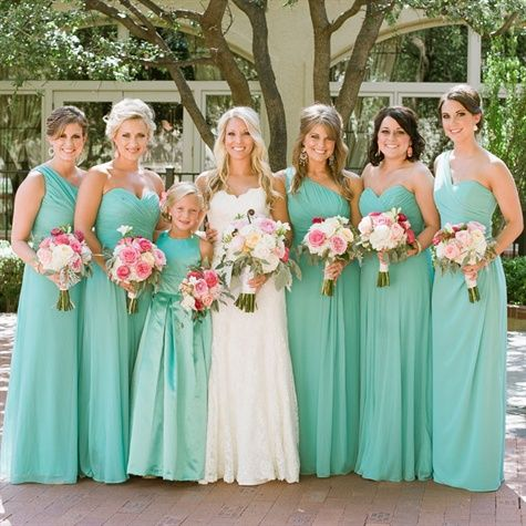 Light Turquoise Bridesmaid Dresses | Bridal Party | Pinterest