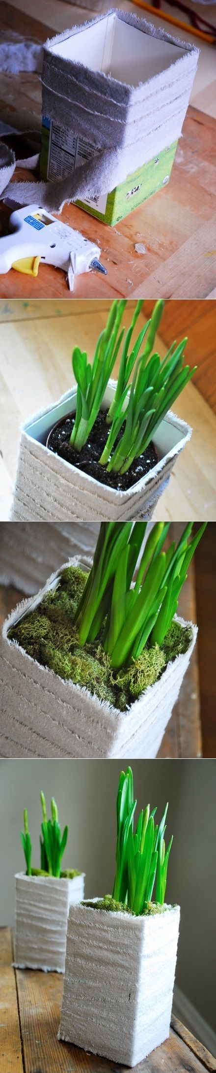 DIY Milk Carton Planter: Simply cut an empty milk carton and wrap it in rough linen. Watch how easily this planter comes together.