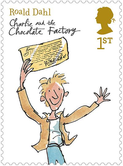 Charlie and the Chocolate Factory postage stamp | Roald Dahl // Quentin Blake | Royal Mail // The Guardian