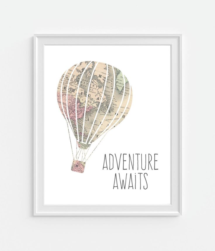 Adventure Awaits Art Print, Map Hot Air Balloon, Nursery Quote, Nursery Wall Art, Childrens Room Decor, Travel Art, Travel Gift by Picturality on Etsy https://www.etsy.com/listing/398838521/adventure-awaits-art-print-map-hot-air