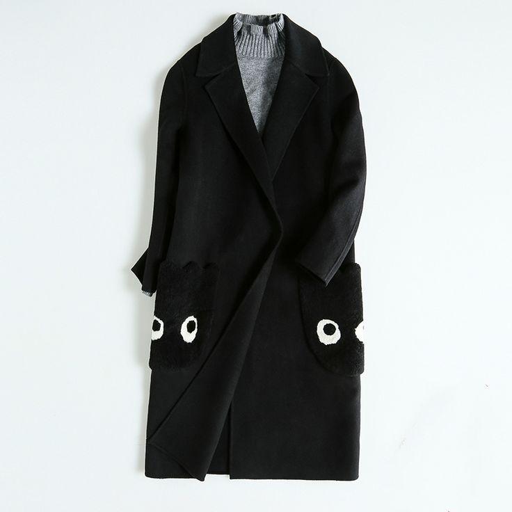 Winter Simple Long Full Sleeve Sheep Wool Black Cartoon Elegant Coats Women Casaco Feminino Manteau Doudoune Femme Abrigo Mujer