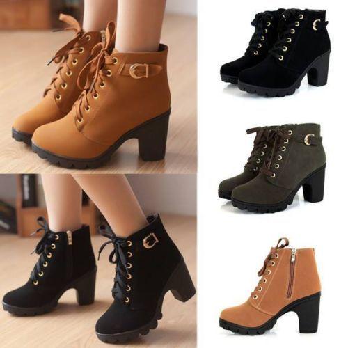 Mujer-Zapatos-Botas-Botines-Plataforma-Tacon-Tacon-Tobillo-Cordones-Invierno-UK