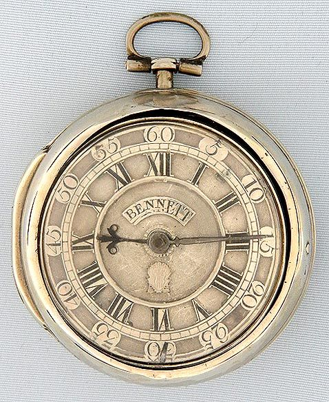 Antique Pocket Watches Bennet Verge: Good English silver pair case verge and fusee antique pocket watch by Bennet, Malmsbury, circa 1755.