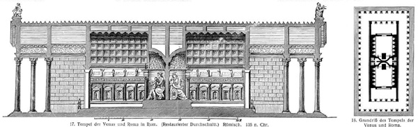 Risultati immagini per Remains of the Temple of Augustus, from a sketch by Ligorio.