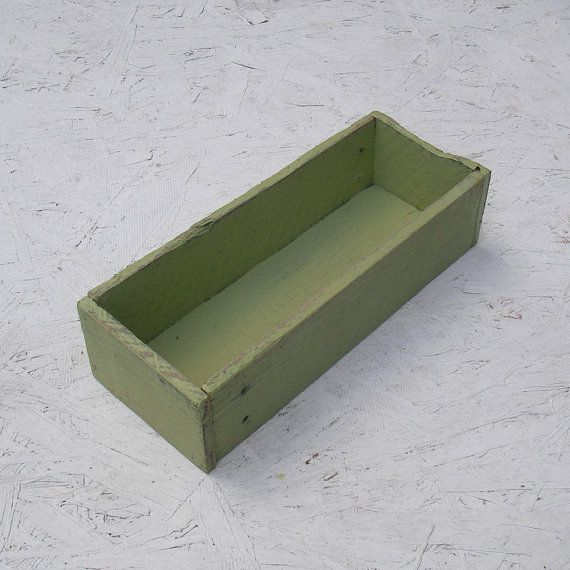 Rustic Wood Box Light Green Paint Country Cottage by ArtfulHorizon