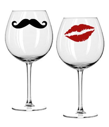 Wine Glass Decal Set - Kiss and Mustache - Red Lips