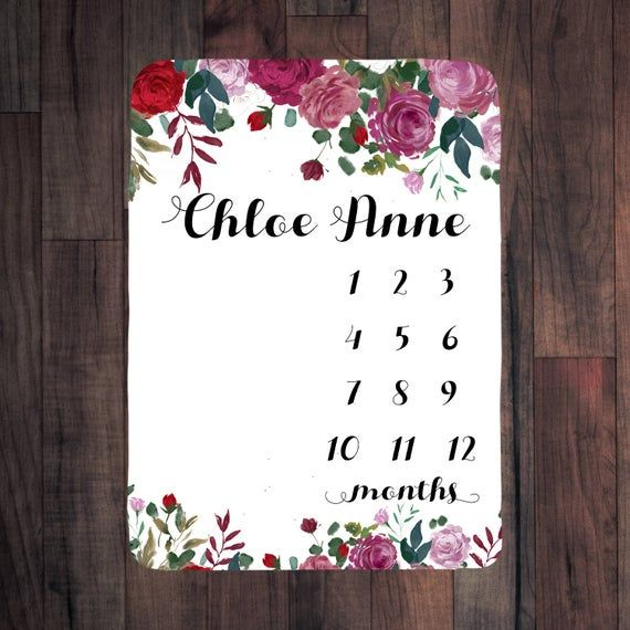 photo prop baby girl gift Track baby/'s growth customized with baby/'s name Baby Milestone Blanket Personalized perfect baby shower gift