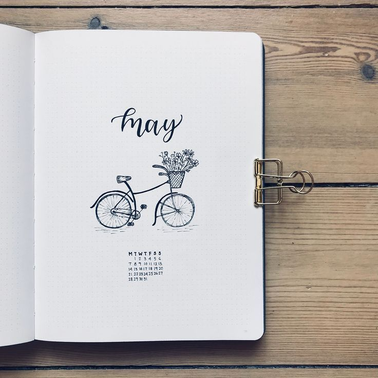 Bullet Journal Monthly Cover Page May Cover Page Bicycle Drawing