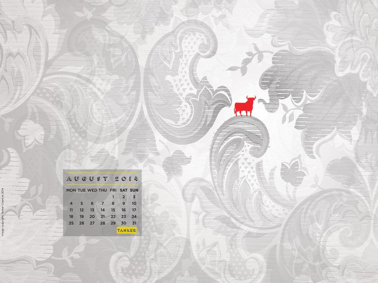 August 2014 Desktop Calendar iMac version www.tankercreative.com