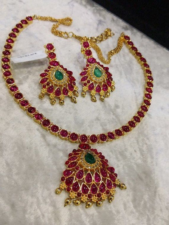 Traditional Sparkling Ruby Necklace Set With Pota Stones 1gm Gold