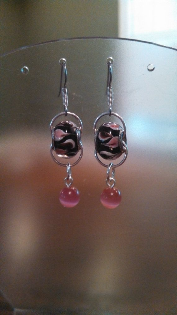 boutique online shopping cheap Pandora Inspired Black and Pink Earrings by evasgiftshop on Etsy     Jump ring jewelry  Pandora Earrings and Beads
