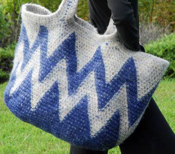 Tapestry Crocheted Zig Zag Big Bag