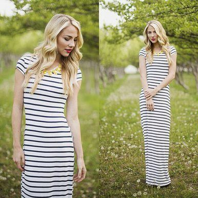 The classic Maya Maxi! Black and white striped maxi dress with sleeves, total comfort and easy style for all seasons! Find yours at Omika Australia for a limited time.