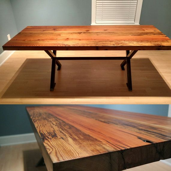 Beautiful Reclaimed Heart Pine Dining Table With X Metal Trestle Base! This tabletop was reclaimed and refinished to ensure its durability and