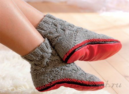 Вяжем носки с подошвой: схема и описание