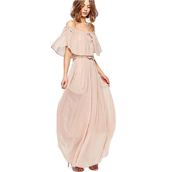 Off Should Boho Sexy Summer Dress (Nude M)