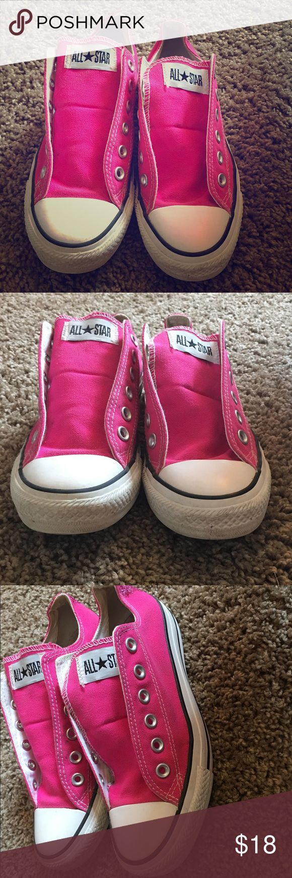 Hot pink converse Great condition! Size 7. Only missing shoelaces, but have a lot of life left to them!! Glitter on the heels, super cute! Converse Shoes Sneakers