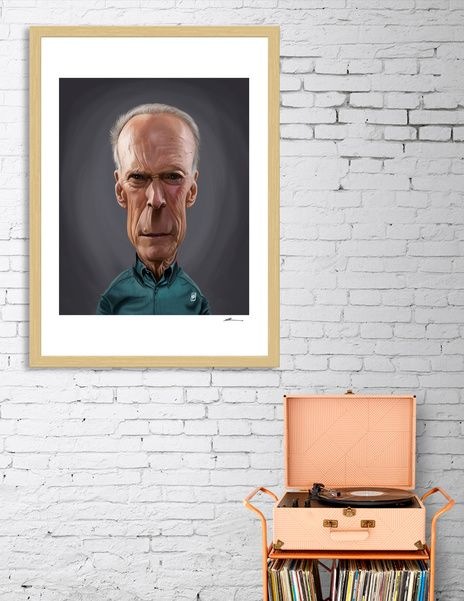Discover «Clint Eastwood», Numbered Edition Fine Art Print by rob art | illustration - art | decor | wall art | inspiration | caricature | home decor | idea | humor | gifts