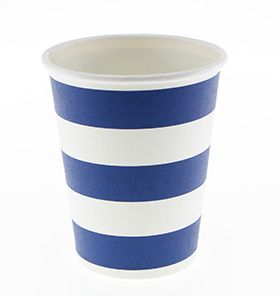 Trucks and Trikes Birthday; 24 Blue stripe paper cups comes with the Standard and Deluxe Packs