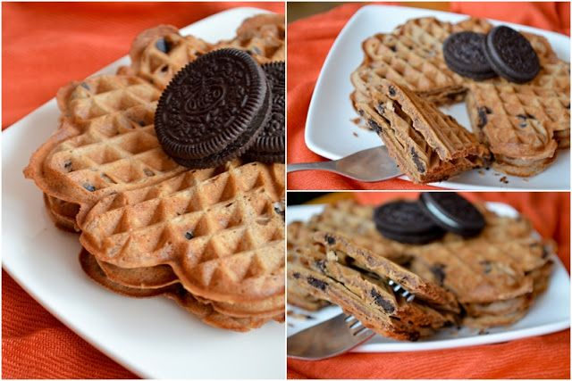 Chocolate waffels with Oreo