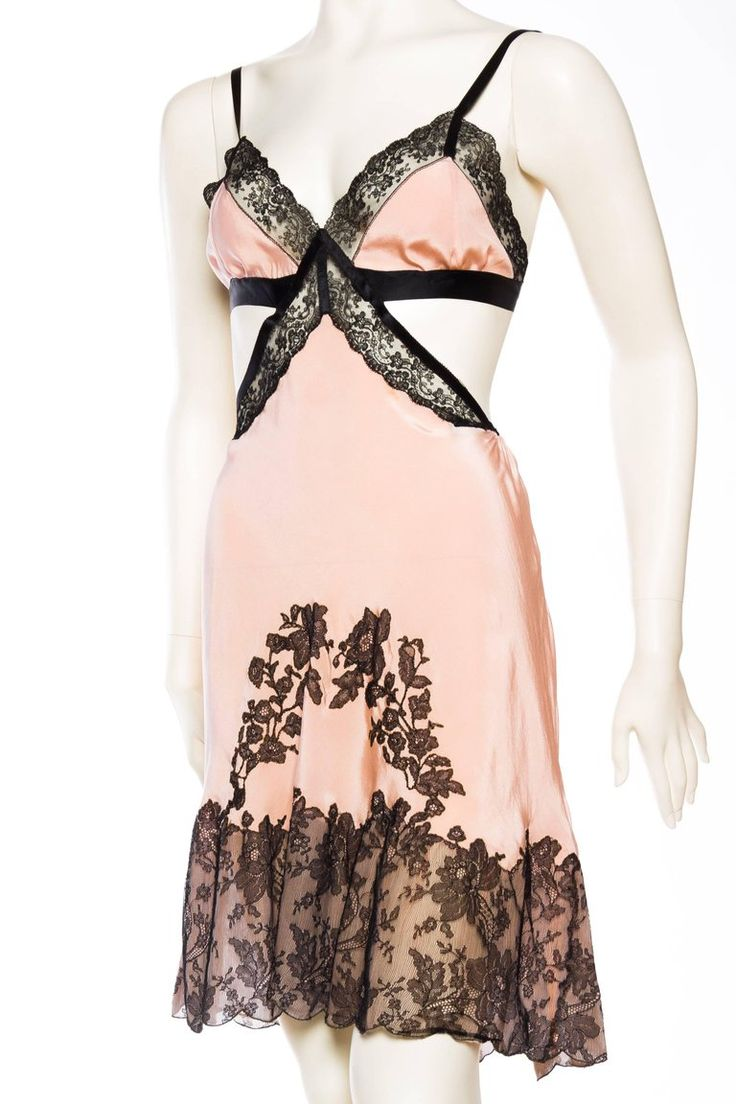 Silk and Victorian Lace Slip Dress For Sale at 1stdibs