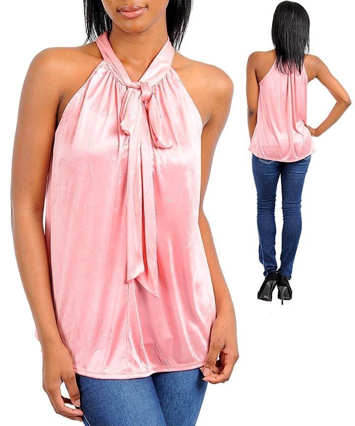 Peach Sexy Career Silk Satin Halter Blouse Shirt Top