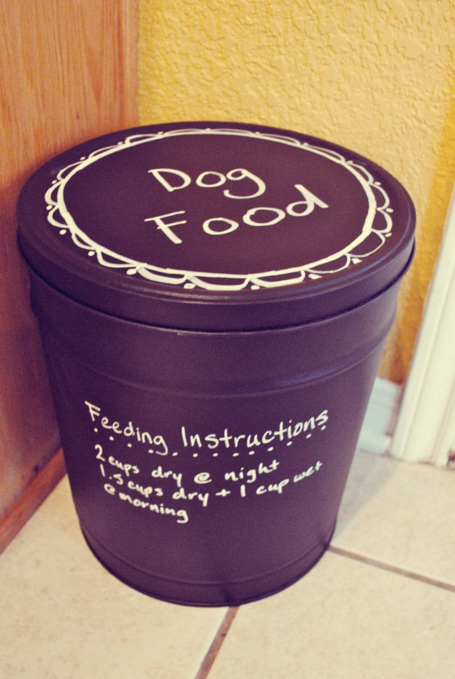 i should be mopping the floor: Popcorn Tin turned Dog Food Container