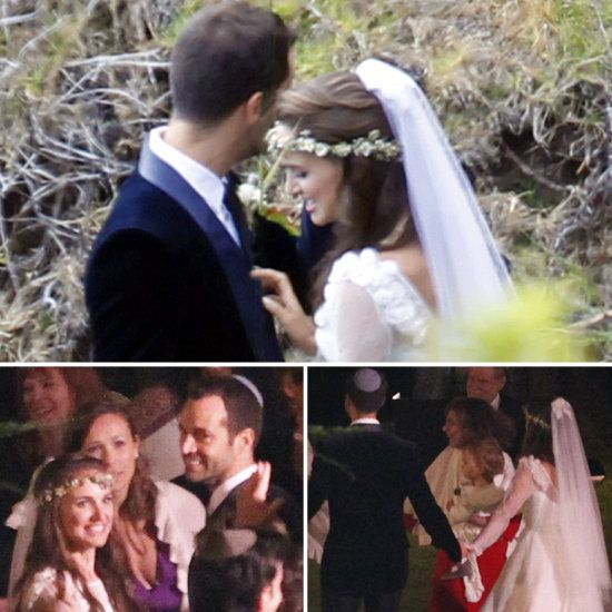 Natalie Portman - Benjamin Millipied Wedding, Aug. 4, 2012. Portman, 31, wore a traditional white gown from Rodarte and a crown of white wildflowers in her hair. The groom, 35, wore a midnight blue tux. The 45-minute ceremony took place on a bluff overlooking the ocean in Big Sur and under a rustic Jewish chuppah made of twigs. They were surrounded by family – including 14-month-old son Aleph – and friends. The menu was vegan, in keeping with the bride's diet.