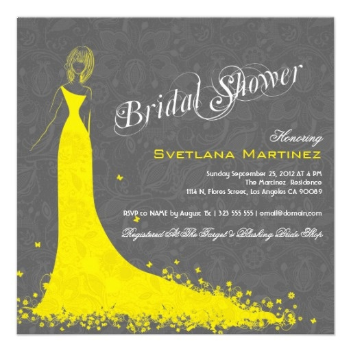 Gray Lace With Yellow Wedding Dress Invite